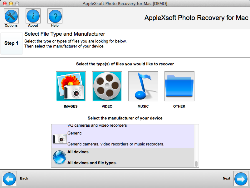 AppleXsoft Photo Recovery for Mac Screen shot